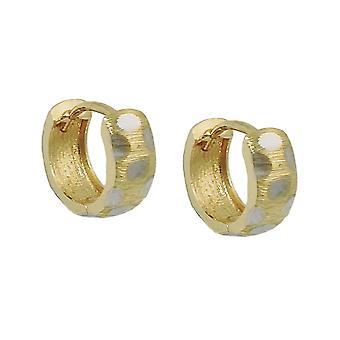 Kreolska 11x4mm klaff gångjärn bicolor 9Kt guld rodium-klädd