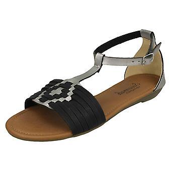 Ladies Savannah T-Bar Weave Sandals F00052 - Tan Synthetic - UK Size 8 - EU Size 41 - US Size 10