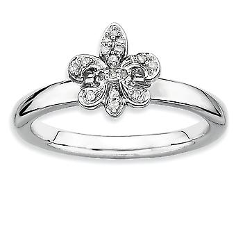 Sterling Zilver gepolijst Prong Rhodium-plated stapelbare expressies Fleur De Lis diamantring - Ring grootte instellen: 5 tot en met 10