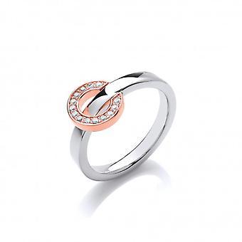 Francés de Cavendish anillo de plata con oro y círculo de CZ Reversible