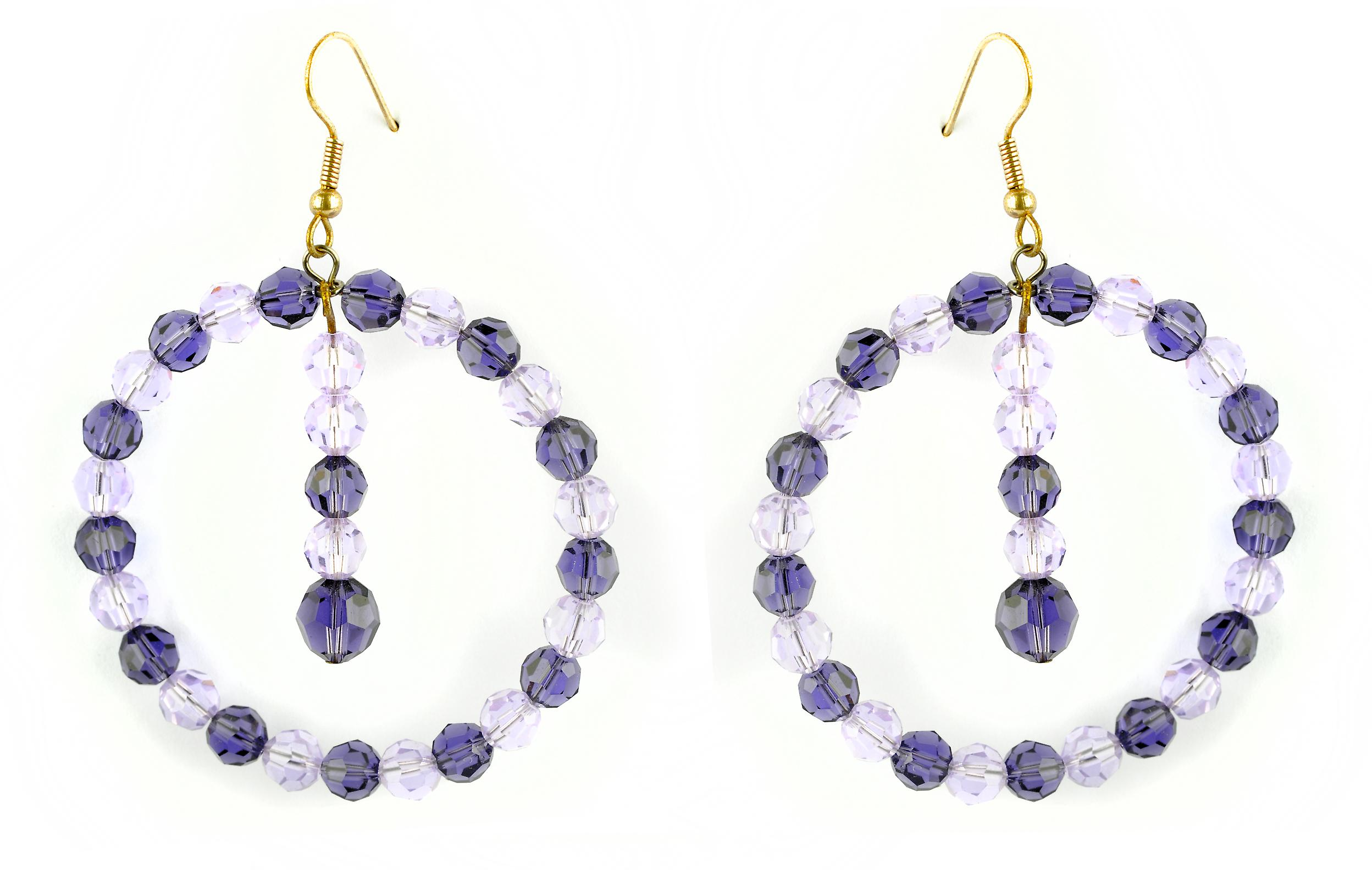 Waooh - Fashion Jewellery - WJ0718 - D'Oreille earrings with Swarovski Strass Purple Lila - Frame Colour Gold