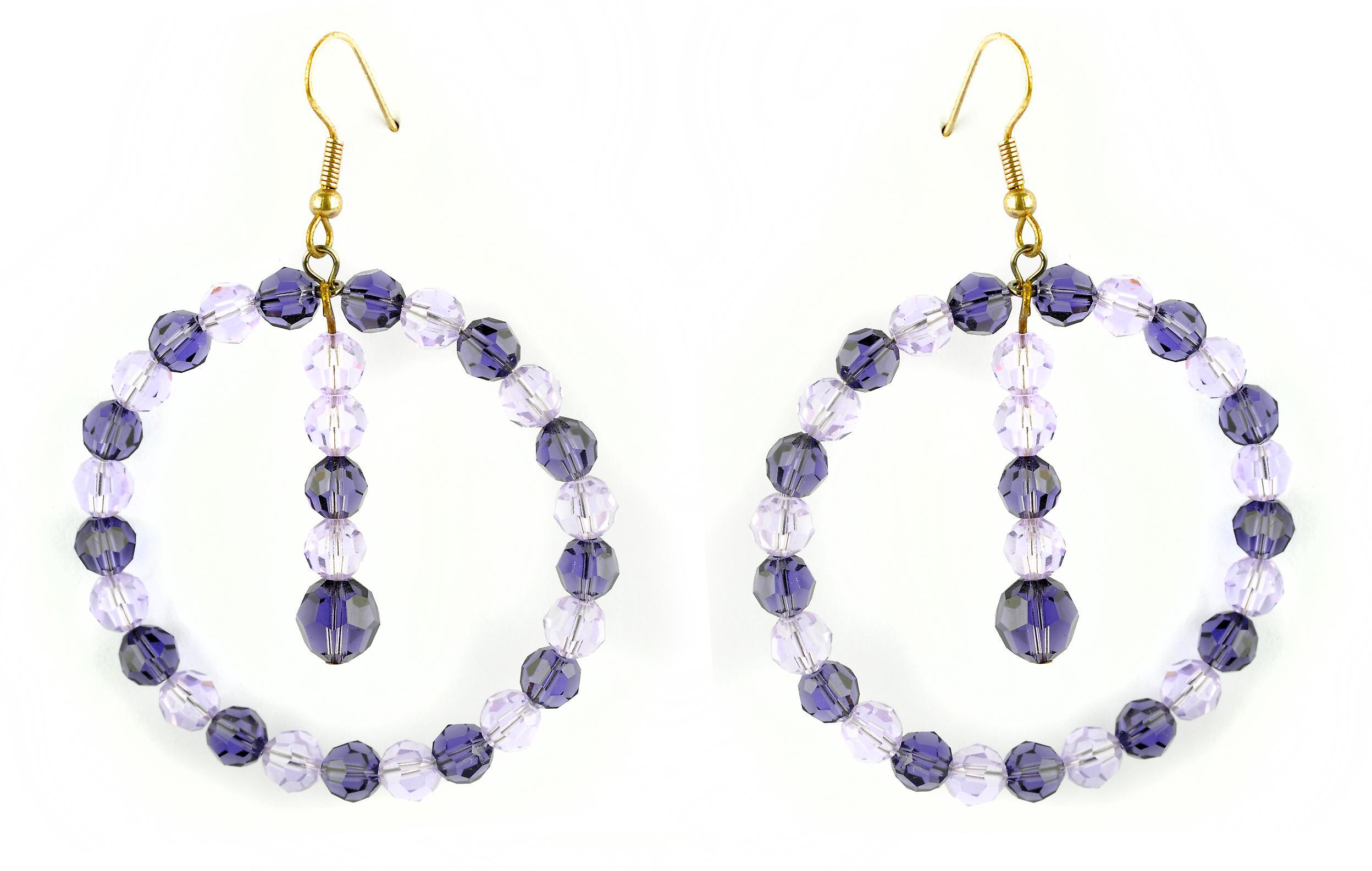 Waooh - sieraden - WJ0718 - oorbellen met strass Swarovski paars Lila - mount kleur goud