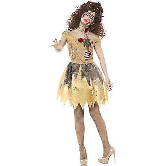Zombie Golden Fairytale Costume, Yellow, with Dress, Attached Latex Ribs, Headband & Choker