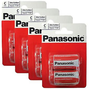 8 x Panasonic R14RZ-2BP C Size Batteries