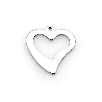 Packet 5 x Silver 304 Stainless Steel 15 x 16mm Heart Charm/Pendant ZX20280
