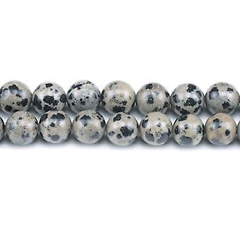 Chapelet de 45 + crème/noir jaspe Dalmatien 8mm plaine ronde perles GS1566-3