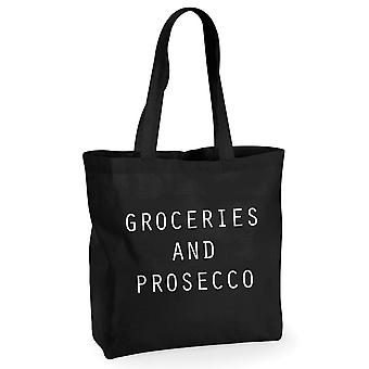 Groceries and Prosecco Black Cotton Shopping Bag