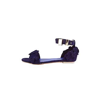 LMS Purple Suede Flat Floral Detail Sandal With Ankle Strap