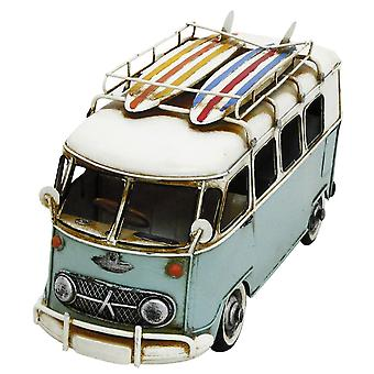 Hand Painted Blue Metal Vintage Bus Camper van Decoration Ornament 30cm