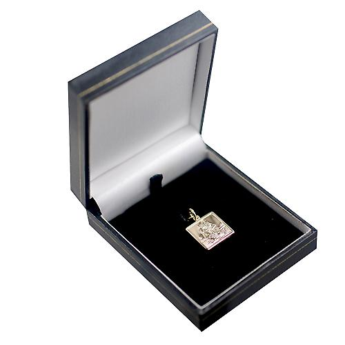 1/20th 14ct yellow gold on Silver 17mm square St Christopher Pendant