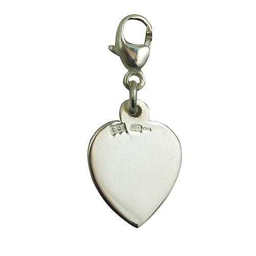 Silver 12x11mm heart St Christopher Charm on a lobster trigger