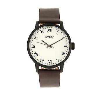Simplify The 4200 Leather-Band Watch - Plum