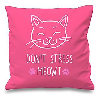 Pink Cushion Cover Cat Don't Stress Meowt 16