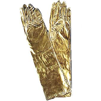 Gloves Elbow Metallic Gold
