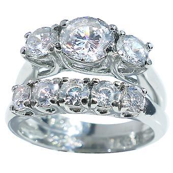 Ah! Bijoux en acier inoxydable anneau & bande ensemble