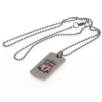Liverpool FC Colour Crest Dog Tag And Chain