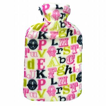 Budget Fleece Cover Hot Water Bottle: Alphabet Letters