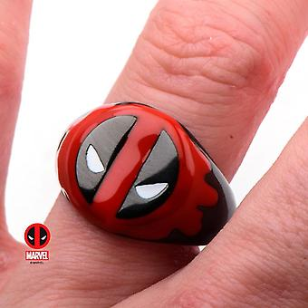 Men's Stainless Steel Black IP Deadpool Red Blood Ring