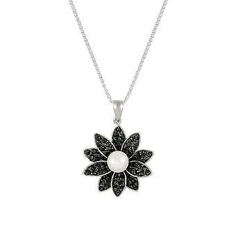 Evige samling Gardenia AAA Akoya perle og sort CZ Sterling sølv vedhæng halskæde