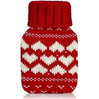Mini Hottie Knitted Cover Gel Hand Warmer: Red Love Hearts