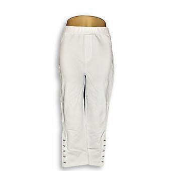 Susan Graver Women's Pants Weekend French Knit Capris White A289435