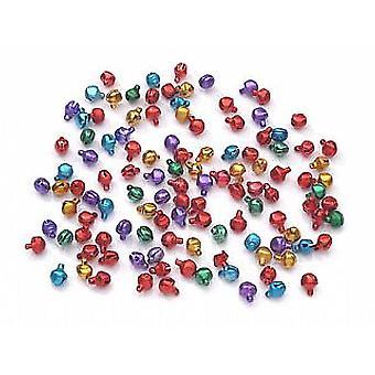 100 assorteret farve 6mm mini Jingle klokker til håndværk | Håndværk klokker