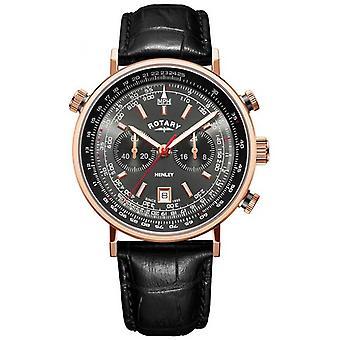 Rotary   Mænd ' s Henley Chronograph   Grå urskive   Sort læder   GS05237/20 Watch