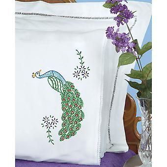 Stamped Pillowcases With White Lace Edge 2 Pkg Peacock 1800 586