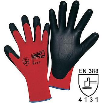 worky 1177 Worky 1177 Skinny PU Coated Knitted Nylon Gloves (Size 9, Red/Black)