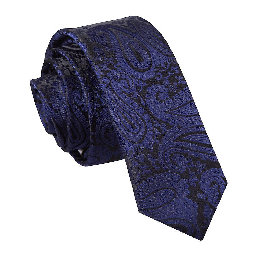 Navy Blue Paisley Patterned Skinny Tie