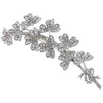 Brooches Store Silver & Clear Crystal Clover Bouquet Brooch