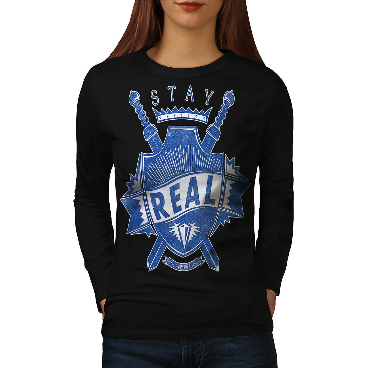 Stay Real Shield Slogan Women Black Long Sleeve T-shirt | Wellcoda