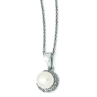Sterling Silver CZ White Freshwater Cultured Pearl Necklace - 18 Inch