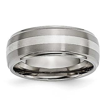 Titanium St. Silver Inlay 8mm Brush/Polish Band - Size 8.5