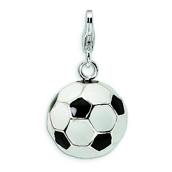 Sterling Silver Rhodium-plated Fancy Lobster Closure 3-D Enamel Soccer Ball With Lobster Clasp Charm - Measures 26x13mm