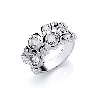 Cavendish French Sterling Silver and CZ Bubbles Ring