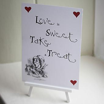Alice in Wonderland Candy Sweet Bar White 'Love Is Sweet' Sign And Easel
