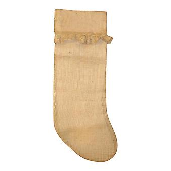Jute Burlap Ruffled Country Christmas Holiday 22 Inch Stocking