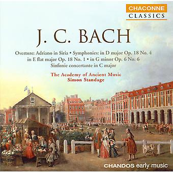 J.C. Bach - J.C. Bach: Overture, Adriano in Siria; Symphonies; Sinfonia Concertante in C Major [CD] USA import