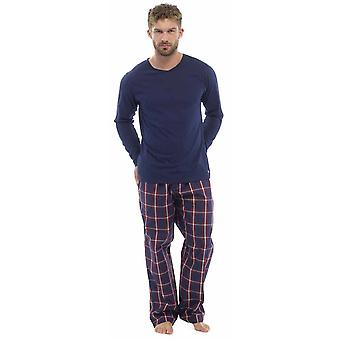 Mens Plaid Print Check Pants With Jersey Top Pyjama nightwear lounge wear