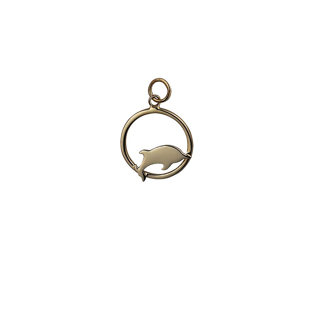 9ct or 18x18mm Dolphin jumping to the right in a circle Pendant or Charm
