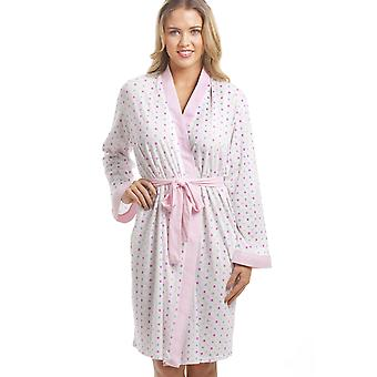 Camille Lightweight White Cotton Mix Pink And Multi-Coloured Spot Bathrobe