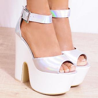 Koi Couture Ladies SQ17 Silver Hologram Wedges