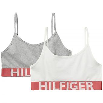 Tommy Hilfiger Girls 2 Pack Bold Bralette, White / Grey Heather, Medium