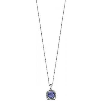Elements Gold Kaleidoscope 9ct White Gold Iolite and Diamond Pave Pendant - Purple/White Gold