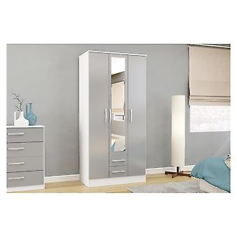 Birlea Lynx White And Grey 3 Door 2 Draw With Mirror