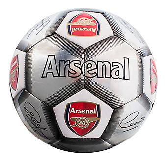 Arsenal FC Official Silver Signature Crest Football (Size 5)