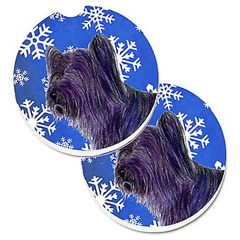 Skye Terrier Winter Snowflakes Holiday Set of 2 Cup Holder Car Coasters