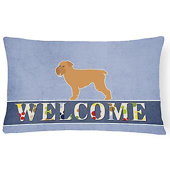 Brussels Griffon Welcome Canvas Fabric Decorative Pillow