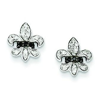 Sterling Silver Polished Prong set Gift Boxed Rhodium-plated Black and White Diamond Fleur De Lis Post Earrings
